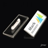 Acrylic card holder with pin