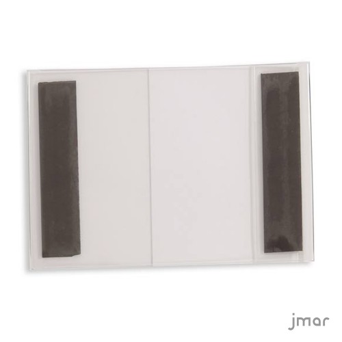 Clear acrylic photo frame with two magnets.